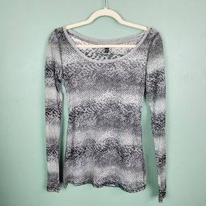 Express Semi Sheer Animal Print Long Sleeve Top